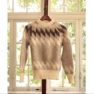 Vintage Cream + Brown Diamond Sweater